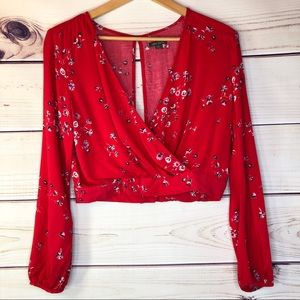 Festival Crop Top Red Floral Print by Wild Fable